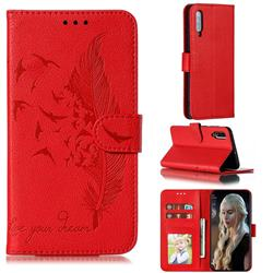 Intricate Embossing Lychee Feather Bird Leather Wallet Case for Samsung Galaxy A70 - Red