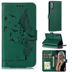 Intricate Embossing Lychee Feather Bird Leather Wallet Case for Samsung Galaxy A70 - Green