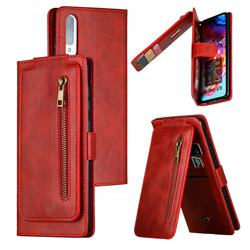Multifunction 9 Cards Leather Zipper Wallet Phone Case for Samsung Galaxy A70 - Red
