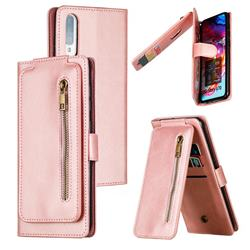 Multifunction 9 Cards Leather Zipper Wallet Phone Case for Samsung Galaxy A70 - Rose Gold