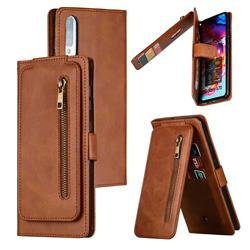 Multifunction 9 Cards Leather Zipper Wallet Phone Case for Samsung Galaxy A70 - Brown