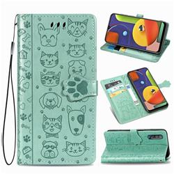 Embossing Dog Paw Kitten and Puppy Leather Wallet Case for Samsung Galaxy A70 - Green