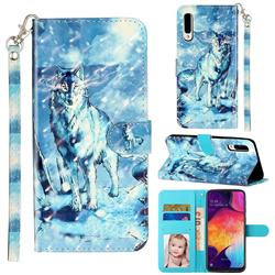 Snow Wolf 3D Leather Phone Holster Wallet Case for Samsung Galaxy A70