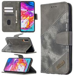 BinfenColor BF04 Color Block Stitching Crocodile Leather Case Cover for Samsung Galaxy A70 - Gray