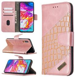 BinfenColor BF04 Color Block Stitching Crocodile Leather Case Cover for Samsung Galaxy A70 - Rose Gold