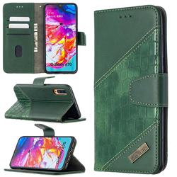 BinfenColor BF04 Color Block Stitching Crocodile Leather Case Cover for Samsung Galaxy A70 - Green
