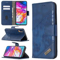 BinfenColor BF04 Color Block Stitching Crocodile Leather Case Cover for Samsung Galaxy A70 - Blue