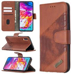 BinfenColor BF04 Color Block Stitching Crocodile Leather Case Cover for Samsung Galaxy A70 - Brown