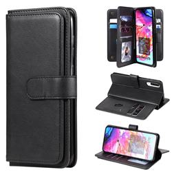 Multi-function Ten Card Slots and Photo Frame PU Leather Wallet Phone Case Cover for Samsung Galaxy A70 - Black