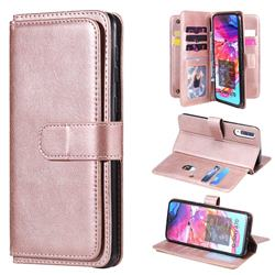 Multi-function Ten Card Slots and Photo Frame PU Leather Wallet Phone Case Cover for Samsung Galaxy A70 - Rose Gold