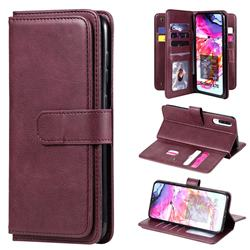 Multi-function Ten Card Slots and Photo Frame PU Leather Wallet Phone Case Cover for Samsung Galaxy A70 - Claret