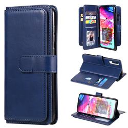 Multi-function Ten Card Slots and Photo Frame PU Leather Wallet Phone Case Cover for Samsung Galaxy A70 - Dark Blue