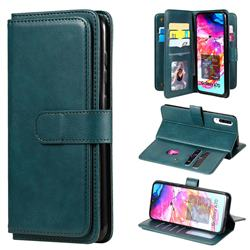 Multi-function Ten Card Slots and Photo Frame PU Leather Wallet Phone Case Cover for Samsung Galaxy A70 - Dark Green
