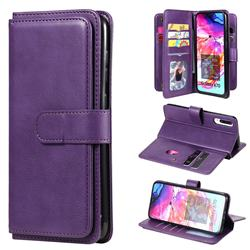 Multi-function Ten Card Slots and Photo Frame PU Leather Wallet Phone Case Cover for Samsung Galaxy A70 - Violet