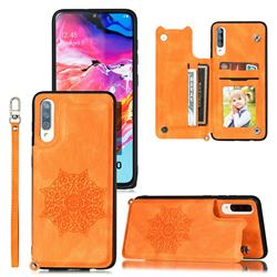 Luxury Mandala Multi-function Magnetic Card Slots Stand Leather Back Cover for Samsung Galaxy A70 - Yellow