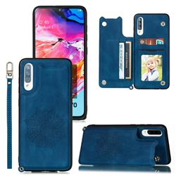 Luxury Mandala Multi-function Magnetic Card Slots Stand Leather Back Cover for Samsung Galaxy A70 - Blue