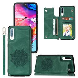 Luxury Mandala Multi-function Magnetic Card Slots Stand Leather Back Cover for Samsung Galaxy A70 - Green