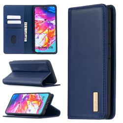 Binfen Color BF06 Luxury Classic Genuine Leather Detachable Magnet Holster Cover for Samsung Galaxy A70 - Blue