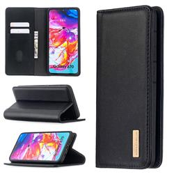 Binfen Color BF06 Luxury Classic Genuine Leather Detachable Magnet Holster Cover for Samsung Galaxy A70 - Black