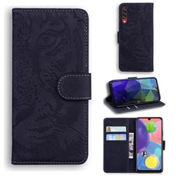 Intricate Embossing Tiger Face Leather Wallet Case for Samsung Galaxy A70 - Black