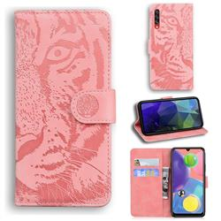 Intricate Embossing Tiger Face Leather Wallet Case for Samsung Galaxy A70 - Pink