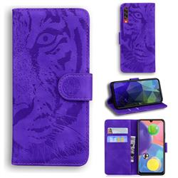 Intricate Embossing Tiger Face Leather Wallet Case for Samsung Galaxy A70 - Purple