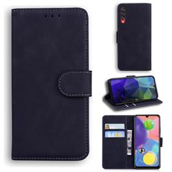 Retro Classic Skin Feel Leather Wallet Phone Case for Samsung Galaxy A70 - Black