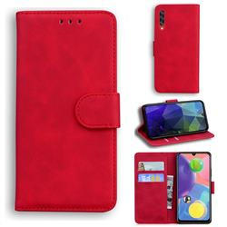 Retro Classic Skin Feel Leather Wallet Phone Case for Samsung Galaxy A70 - Red
