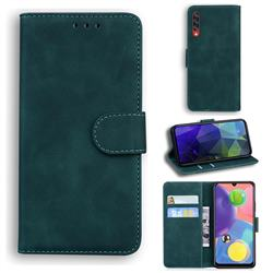 Retro Classic Skin Feel Leather Wallet Phone Case for Samsung Galaxy A70 - Green