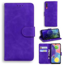 Retro Classic Skin Feel Leather Wallet Phone Case for Samsung Galaxy A70 - Purple