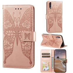 Intricate Embossing Rose Flower Butterfly Leather Wallet Case for Samsung Galaxy A70 - Rose Gold