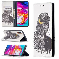 Girl with Long Hair Slim Magnetic Attraction Wallet Flip Cover for Samsung Galaxy A70
