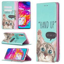 Hand Up Cat Slim Magnetic Attraction Wallet Flip Cover for Samsung Galaxy A70