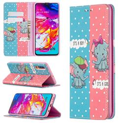 Elephant Boy and Girl Slim Magnetic Attraction Wallet Flip Cover for Samsung Galaxy A70