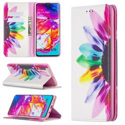Sun Flower Slim Magnetic Attraction Wallet Flip Cover for Samsung Galaxy A70
