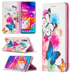 Flying Butterflies Slim Magnetic Attraction Wallet Flip Cover for Samsung Galaxy A70