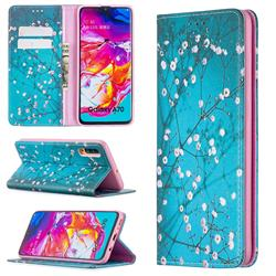 Plum Blossom Slim Magnetic Attraction Wallet Flip Cover for Samsung Galaxy A70