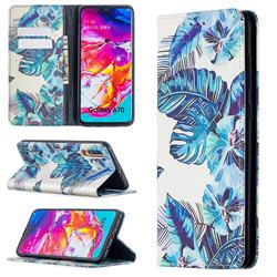 Blue Leaf Slim Magnetic Attraction Wallet Flip Cover for Samsung Galaxy A70