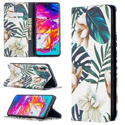 Flower Leaf Slim Magnetic Attraction Wallet Flip Cover for Samsung Galaxy A70