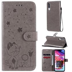 Embossing Bee and Cat Leather Wallet Case for Samsung Galaxy A70 - Gray