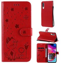 Embossing Bee and Cat Leather Wallet Case for Samsung Galaxy A70 - Red