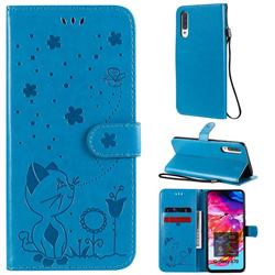 Embossing Bee and Cat Leather Wallet Case for Samsung Galaxy A70 - Blue