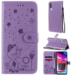 Embossing Bee and Cat Leather Wallet Case for Samsung Galaxy A70 - Purple