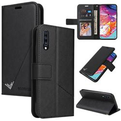 GQ.UTROBE Right Angle Silver Pendant Leather Wallet Phone Case for Samsung Galaxy A70 - Black