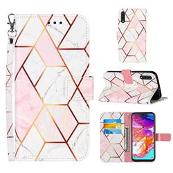 Pink White Stitching Color Marble Leather Wallet Case for Samsung Galaxy A70