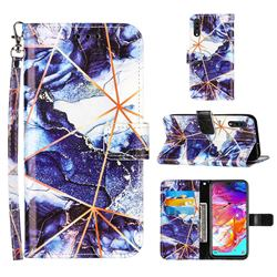 Starry Blue Stitching Color Marble Leather Wallet Case for Samsung Galaxy A70