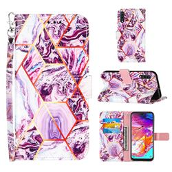 Dream Purple Stitching Color Marble Leather Wallet Case for Samsung Galaxy A70