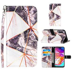 Black and White Stitching Color Marble Leather Wallet Case for Samsung Galaxy A70