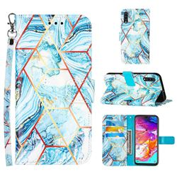Lake Blue Stitching Color Marble Leather Wallet Case for Samsung Galaxy A70