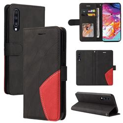 Luxury Two-color Stitching Leather Wallet Case Cover for Samsung Galaxy A70 - Black